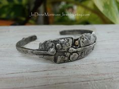 Rustic hand fabricated sterling silver & 14k gold cuff $105.00 by JoDeneMoneuseJewelry