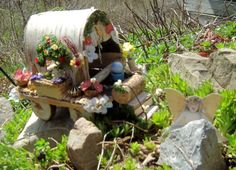 Fairy Gypsy Wagon by CKGraphics on Etsy Wooden Spools, Wooden Beads, Dried Flowers, Silk Flowers, Wine Bottle Corks, Gypsy Wagon, Birch Bark, Garden Accessories, Flower Boxes