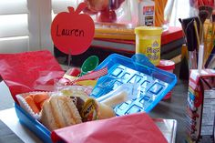 good lunch idea!! then after eating they could put their party favors back in the pencil case!
