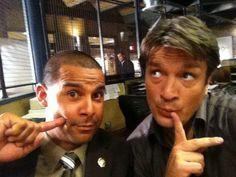 Jon Huertas and Nathan Fillion BTS at Castle