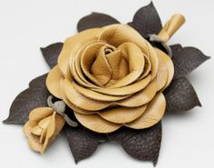 leather flower pin-- 3rd anniversary gift idea (maybe even your wedding color or type of flower)