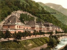 Pretty European Homes on the Mountainside Vintage Color Photograph Instant Digital Download Easy Hom