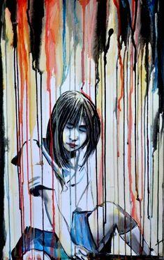 "Saatchi Art Artist Alex Solodov; Painting, ""Japanese Schoolgirl Sitting with Katana"" #art"