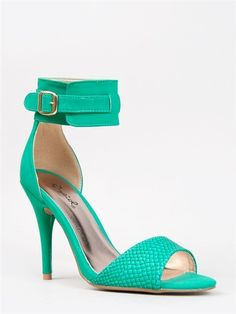 QUPID Women Ankle Strap Snake High Heel Sandals Mint Sea Green.  Just bought these, I have the perfect dress for this....gorgeous!