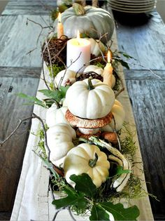 Pumpkin centerpiece for Thanksgiving. I know this is for Thanksgiving but I'm putting it here because I want to set a table like this someday. Fall Table Centerpieces, Decoration Table, Centerpiece Ideas, White Centerpiece, Driftwood Centerpiece, Easter Centerpiece, Autumn Decorating, Decorating Ideas, Interior Decorating