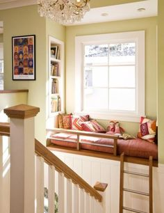 Reading nook / window seat accessible from stairs via ladder. Steuerwald I instantly thought of your window seat dream when I saw this! House Design, House, Reading Loft, Traditional Staircase, Home, Multifunctional Room, House Interior, Cozy Reading Nook, Interior Design