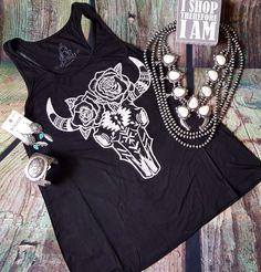 COWGIRL gypsy BUFFALO BULL SKULL AZTEC BOHO Tank Top Black  Shirt Western SMALL…