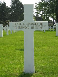 Technical Sergeant Karl F. Joerger, Jr. U.S. Army Air Forces 711th Bomber Squadron, 447th Bomber Group, Heavy  Entered the Service from: Pennsylvania Service # 13154260 Died: February 28, 1944 Buried: Plot A Row 22 Grave 42 Normandy American Cemetery Normandy American Cemetery and Memorial Colleville-sur-Mer, France