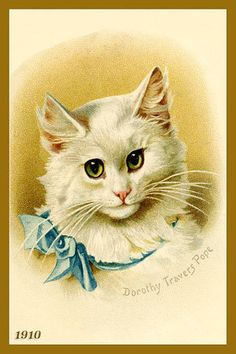 Cat Painting by Dorothy Travers Pope - 1910 Postcard. Quilt Block printed on cotton. Ready to sew.  Single 4x6 block $4.95. Set of 4 blocks with free Wall Hanging Pattern $17.95.