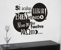Vinilo de Bienvenida,  Vinilos Decorativos, Vinilos, Vinilo, Vinilos Adhesivos, Vinilos Decorativos, Urbanos, Decoración de Paredes, Stickers, Pegatinas