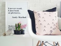 pink hyacinth, white brick wall, pink pillow, Andy Warhol quote, cage lamp, white interior, Scandinavian interior, Nordic interior http://frichic.com