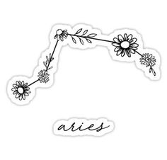 Aries Zodiac Wildflower Constellation Sticker