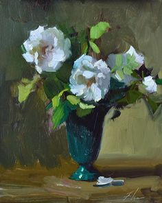 Garden White Roses Demonstration by Kelli Folsom Oil ~ 10 x 8