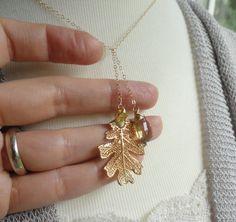 Autumn Wedding Gold Oak Leaf & Gemstone Necklace by BriguysGirls, $41.50