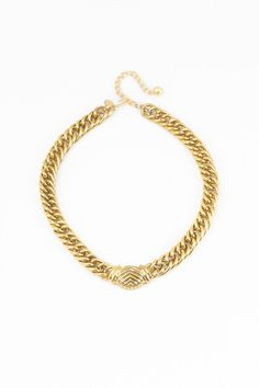 80's Chunky Chain Shield Bar Necklace #vintage #statement http://www.sweetandspark.com
