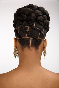 The essence to Dionne smith's bridal updos are intricate partings and stylised braids #PixieHairstyles.  #hair #loc #style #beauty Natural Updo, Natural Hair Updos Styles, Natural Hair Care, Cornrows Natural Hair, Natural Hairstyles, Braided Hairstyles, Curly Hair Styles, Beautiful Hairstyles, Updos For Black Hair