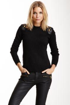 Doma Leather Shoulder Wool Blend Embellished Sweater