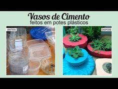 DIY - Como fazer vaso de cimento (vasinho para cactos e suculentas) Cement/concrete planter. - YouTube