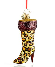 Christopher Radko Christmas Ornament, Very Best Boots - Leopard