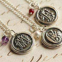Oxidized Old English Initial Wax Seal Necklace with Birthstone - Fine Silver, Sterling Silver