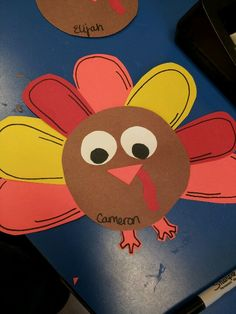 Turkey name tags for child's cubbie -for boy