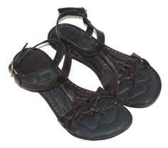 8a7625f4a9fd Born Black Leather Strappy Sandals Shoes Flats Womens Size 7 38 M W