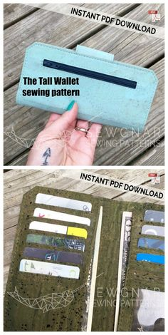 Tall Wallet sewing pattern with video - Sew Modern Bags Bag Patterns To Sew, Sewing Patterns Free, Diy Wallet Pattern, Cork Purse, Sew Wallet, Cork Fabric, Fabric Scraps, Machine Embroidery, Purses And Bags