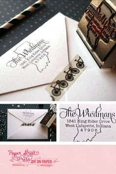 """Custom state stamp (any state). Rubber return address stamp. Perfect for weddings or as a housewarming gift. 2"""" x 1.5"""" with a wooden handle."""
