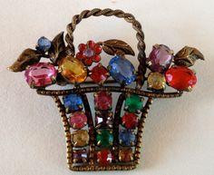 Czech Brass Filigree Flower Basket Brooch