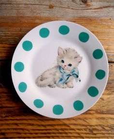 Kawaii Cat Vintage Kitten Plate Altered Art by TheLuckyFox on Etsy Go buy this awesomely adorable plate from my gal pal, Emma!!! https://www.etsy.com/listing/263172136/kawaii-cat-vintage-kitten-plate-altered?ref=shop_home_active_43