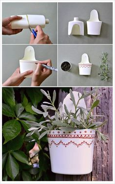 Mini porta-macetas con envases plásticos de cremas (Foto original de Breslo):