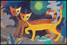 Rosina Wachtmeister Pictures To Paint, Art Pictures, Art Images, Rustic Art, Cat Drawing, Christmas Cats, Cat Art, Cats And Kittens, Folk Art