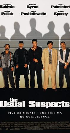 Kevin Spacey, Stephen Baldwin, Gabriel Byrne, Benicio Del Toro, and Kevin Pollak in The Usual Suspects The Usual Suspects Movie, Peter Greene, Pete Postlethwaite, Christopher Mcquarrie, Stephen Baldwin, Gabriel Byrne, Bryan Singer, Short Novels