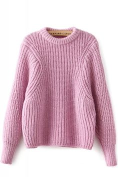 Pink Plain Round Neck Long Sleeve Loose Pullover Sweater
