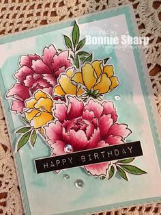 Altenew, Peony Bouquet, Copic colouring, Altenew Label Love, stamping, card, copic markers, birthday card, Bonnie Sharp, The Lucky Clucker