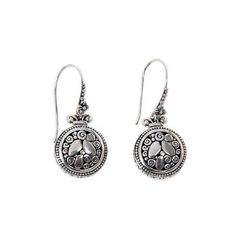 NOVICA Sterling Silver Hook Earrings with River Stone Motif (3,395 INR) ❤ liked on Polyvore featuring jewelry, earrings, dangle, sterling silver, round earrings, swirl earrings, dangle earrings, sterling silver jewellery and novica jewelry