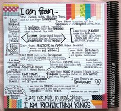 """i am from..."" journal prompt-a good idea for a one day activity or during testing weeks"