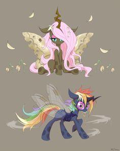[MLP] Changeling Fluttershy and Rainbow Dash by awsdeMLP.deviantart.com on @deviantART