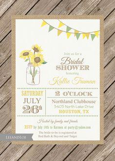 Sunflower Bridal Shower InvitationRustic Burlap Mason by LeeandLoe, $17.00