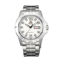 #Orient #sporty #Day&Date Men white Dial Silver Metal Strap Round Shape SEM7L005W9 online india.
