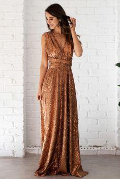 137fe2dd53 Sequins Multiway Infinity Dress in Copper