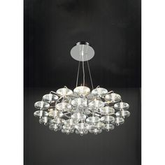 PLC Lighting 27-in W Diamente Pendant Light with Crystal Shade