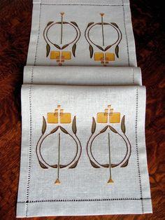 NellTable bufanda, artesano, estilo de la misión, mano bordada, dibujado a mano vainicas