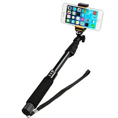 Selfie Stick  Banadim Extendable selfie pole with builtin Bluetooth Remote Shutter for iPhone 7 7plus 6 6plus 6s 6 s plus  Samsung and other IOS and Android SmartphonesBlack -- Click affiliate link Amazon.com on image to review more details.