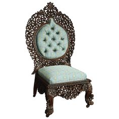 Superb Quality Anglo-Indian Rosewood Upholstered Side Chair    From a unique collection of antique and modern side chairs at https://www.1stdibs.com/furniture/seating/side-chairs/