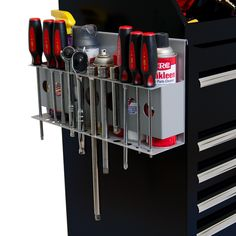 Features:  -Tool and can organizer.  -Hangs over the top edge of the roller cabinet and down the side of your roller cabinet and tool cart.  -Plus holders for additional 12 tools including screwdriver