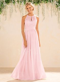 Bridesmaid Dresses - $116.69 - A-Line/Princess Scoop Neck Floor-Length Chiffon Lace Bridesmaid Dress With Ruffle (0075094188) Okay, I really like this one! (available in sage)