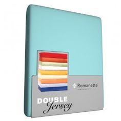 """Zojuist Double Jersey Hoeslaken Romanette Aqua Blauw-Lits-Jumeaux (160/180 x <a href=""""tel:200/210/220"""">200/210/220</a> cm) gekocht:"""