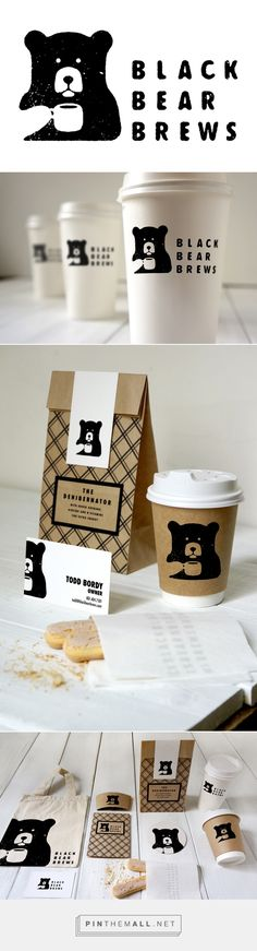coffee branding Black Bear Brews packaging on Behance by Todd Bordy curated by Packaging Diva PD. For a type and layout class and thought it would be fun to come up with and brand a Coffee Shop Packaging Box, Coffee Packaging, Brand Packaging, Packaging Design, Product Packaging, Coffee Shop Branding, Coffee Shop Menu, Product Branding, Coffee Cafe