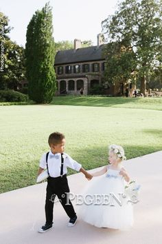 So adorable! Love this ring bearer 's bow tie was made to compliment this flower girl's dress.  Exclusively made for one of our celebrity clients. Our Glitter Fairy from The Fairytale Collection  👗Style 919⁠  Did you know that we have over 200 silk colors to work with starting at $99?⁠  Contact us today at (407) 928-2377   #PegeenFlowerGirl ____________________________________ #flowergirl #flowergirldresses #flowergirldress #celebritywedding